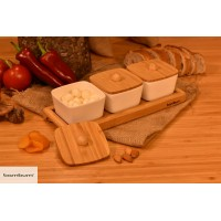 Lalin - 7 Pcs Bamboo Brekfast Set with Lid